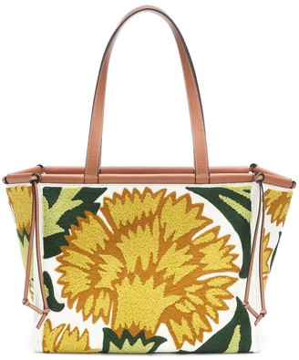 Loewe Cushion floral-embroidered tote