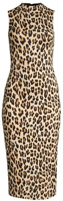 Alice + Olivia Delora Leopard Sleeveless Bodycon Dress