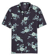 modern Men's Short Sleeve Stretch Pique Floral Polo-Candy Pink Check