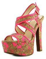 Jessica Simpson Navallo Women Open Toe Canvas Tan Platform Sandal.