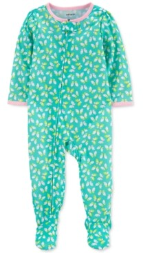 Carter's Baby Girls 1-Pc. Butterfly-Print Footie Pajama
