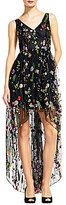 Adrianna Papell V-Neck Sleeveless Embroidered Tulle Hi-Low Gown