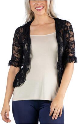 24Seven Comfort Apparel Sheer Black Lace Open Front Shrug