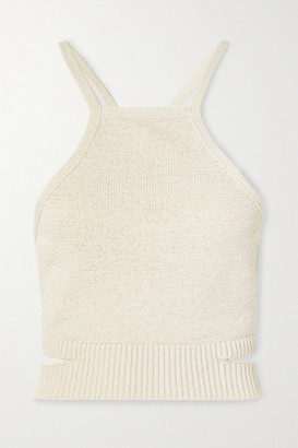 Cult Gaia Nan Open-back Cotton-blend Halterneck Top - Beige