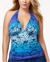 Bleu by Rod Beattie Plus Size Island Heat Ombre Palm-Print Tummy-Control Halter Tankini Top Women's Swimsuit