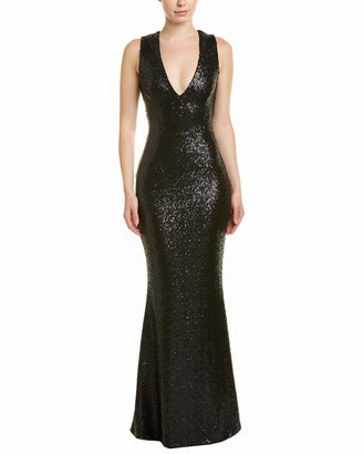 Dress the Population Women's Karina Plunging Sequin Fitted Sleeveless Long Mermaid Gown