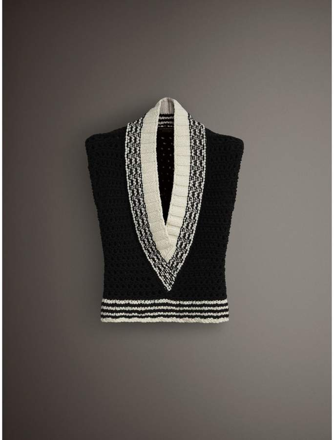 Burberry Cap-sleeve Knitted Wool V-neck Tank Top