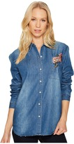 Joe's Jeans Embroidered Denim Shirt Women's Long Sleeve Button Up