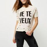 River Island Womens Petite cream sequin print distressed T-shirt