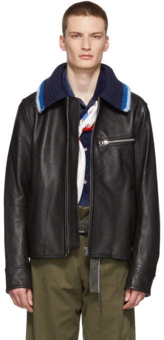 Acne Studios Black Knit Collar Leather Jacket