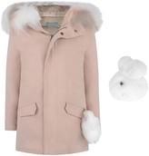 Yves Salomon Pink Cotton Parka With Fur Trim Hood