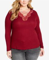 Jessica Simpson Trendy Plus Size Yvetta Lace-Up Top