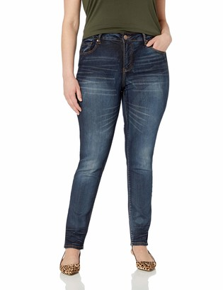 Cover Girl Women's Plus Size Skinny Butt Shaping Low Rise Cute Sexy Dark Blue Washes