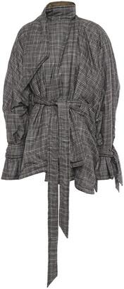 Roland Mouret Albertin Oversized Draped Checked Woven Coat