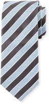 Eton Repp Stripe Silk Tie, Charcoal/Light Blue