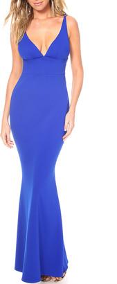 Katie May Helena Deep V-Neck Sleeveless Cutout Back Pebble Crepe Gown