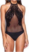 Forever Women's Sleeveless Stripe Print Mesh Insert Bodysuit