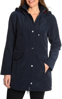 Fleet Street Women's Hooded Faux-Silk Anorak Jacket