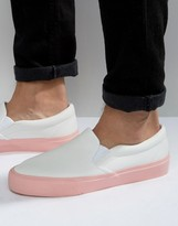 Asos Slip On Sneakers in White With Pink Sole
