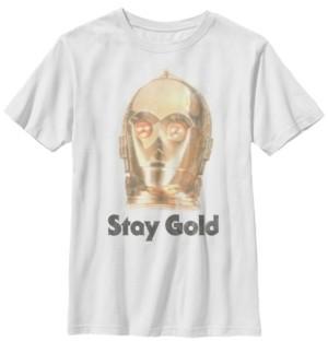 Star Wars Big Boys C-3PO Stay Gold-Tone Big Face Short Sleeve T-Shirt