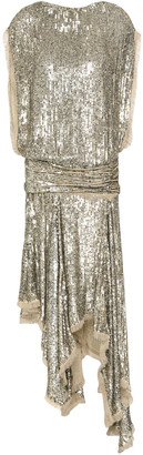 Zimmermann Asymmetric Ruched Sequined Georgette Dress