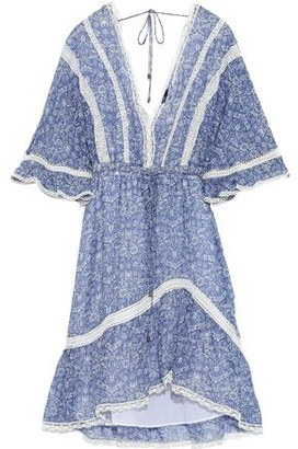 Love Sam Lace-trimmed Floral-print Silk-voile Mini Dress