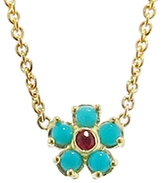 Jennifer Meyer Turquoise and Ruby Flower Necklace
