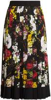 Dolce & Gabbana Floral-print pleated silk-blend charmeuse skirt