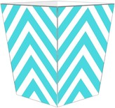 The Well Appointed House BARGAIN BASEMENT ITEM:Turquoise Chevron Grande Decoupage Wastebasket with Optional Tissue Box - IN STOCK IN OUR GREENWICH STORE FOR QUICK SHIPPING