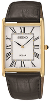 Seiko Sup880p1 Solar Leather Strap Watch, Black/white
