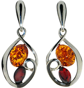 Goldmajor Amber And Silver Drop Down Earrings, Silver