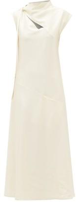 Jil Sander Tie-neck Charmeuse Midi Dress - Womens - Ivory