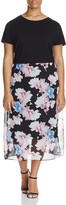 Vince Camuto Plus Poetic Bouquet Floral Skirt Midi Dress