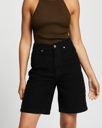AERE - Women's Black High-Waisted - Organic Cotton Mid Shorts - Size 6 at The Iconic