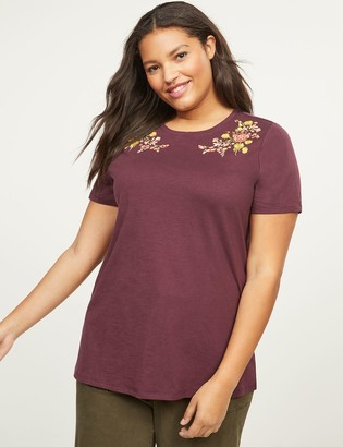 Lane Bryant Floral Embroidered Tee