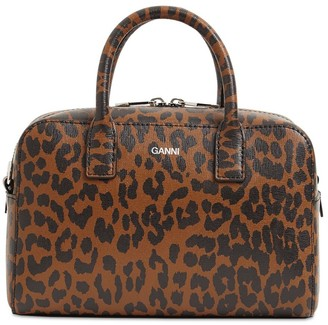 Ganni Printed Leather Top Handle Bag