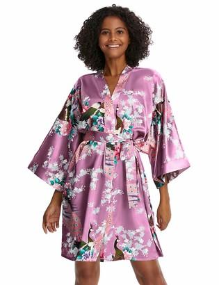 Coucoland Women's Short Kimono Dressing Gown Peacock Printed Satin Kimono Cardigan Knee Length Robe for Nightwear Girl's Bonding Party Wedding Pajama Party (Pink)