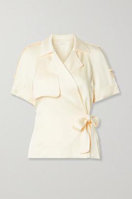 Jonathan Simkhai Kelsey Hammered-satin Wrap Top - Cream