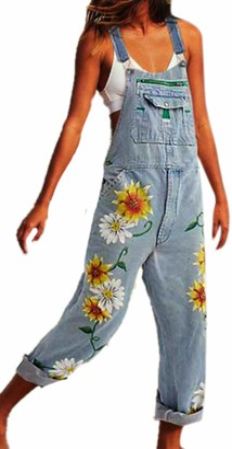 Hibasing Womens Sunflower Denim Playsuit Jumpsuit Jeans Ladies Overalls Trousers