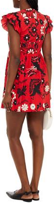 RED Valentino Ruffle-trimmed Gathered Printed Cotton-poplin Mini Dress