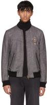 Dolce & Gabbana Black & White Herringbone Crest Bomber Jacket