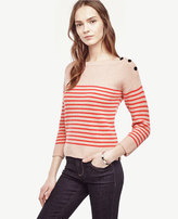 Ann Taylor Petite Striped Wool Cashmere Sweater