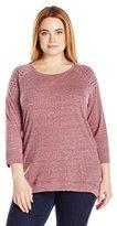 French Laundry Women's Plus Size Embellished Raglan Hi-Lo Sweatshirt Top