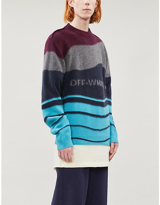 Off-White Contrast-pattern crewneck virgin-wool jumper