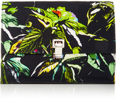 Proenza Schouler Leather and Tropical Printed Large Lunch Bag Clutch