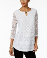 JM Collection Lace-Overlay Keyhole-Cutout Top, Only at Macy's
