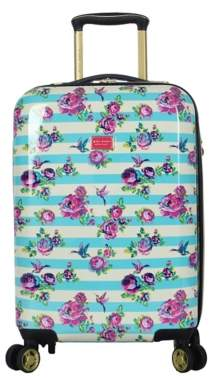 Betsey Johnson Luggage Stripe Floral Hummingbird 20-Inch Carry-On Hard Shell Luggage