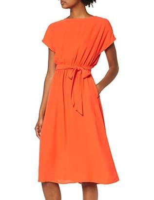 Selected Women's Slfrinna Vienna Ss Midi Dress B, Orange Cherry Tomato, 12 (Size: )