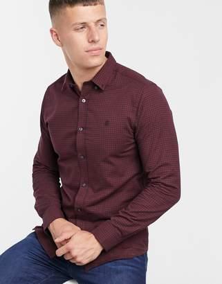 Burton Menswear long sleeve gingham slim fit shirt in burgundy-Red