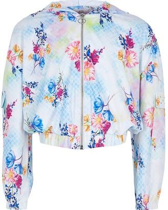 River Island Girls blue floral print zip up through hoodie